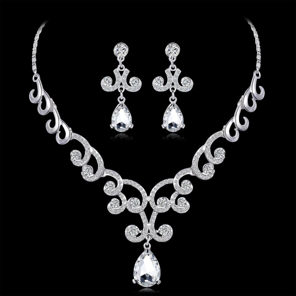 Bintang Pelangi untuk Wanita Set Perhiasan Wanita Fashion Tajam Liontin Berlian Buatan Kalung + Anting-Anting untuk Pernikahan Hari Kasih Sayang Hadiah-Intl