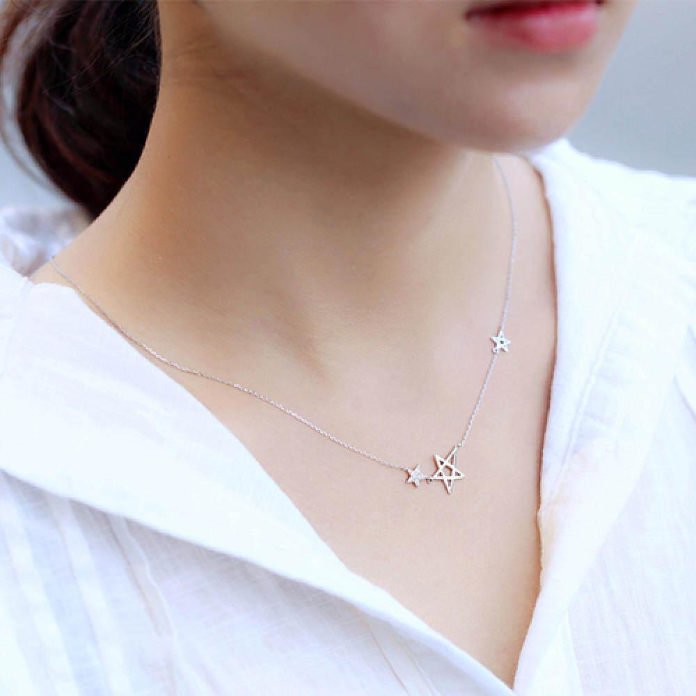 Ngôi Sao Cổ S 925 bạc nguyên chất trang trí 5 Mũi ngôi sao khóa một xương ngắn gọn lấy mì là dây chuyền các năm nữ ánh sáng 100 phẩm chất Triều ngọt ngày