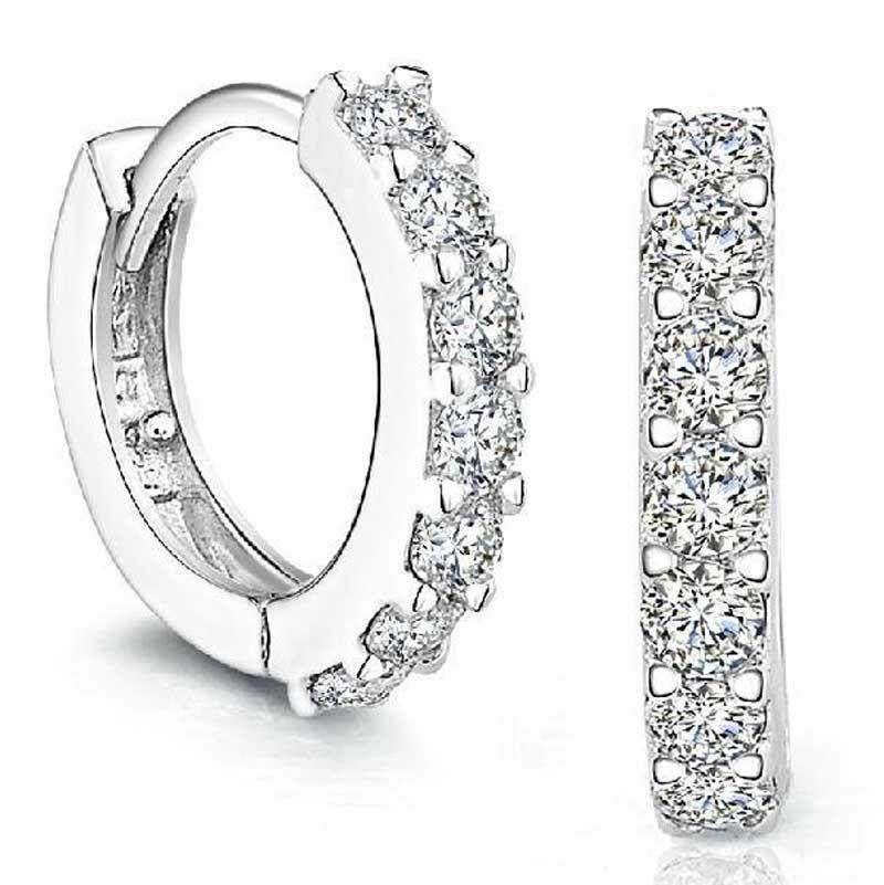 Sterling Berlian Buatan Perak Ring Anting-anting Bertatah Berlian untuk Wanita-Intl
