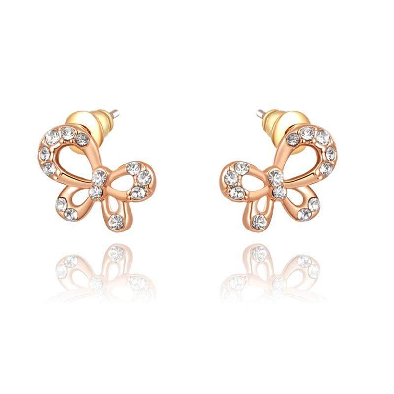 Stud Earrings Rose Gold Color Cute Rhinestone Crystal Bow Butterfly Stud  Earrings Women Party Bridal Jewelry f88f9a1dc60d