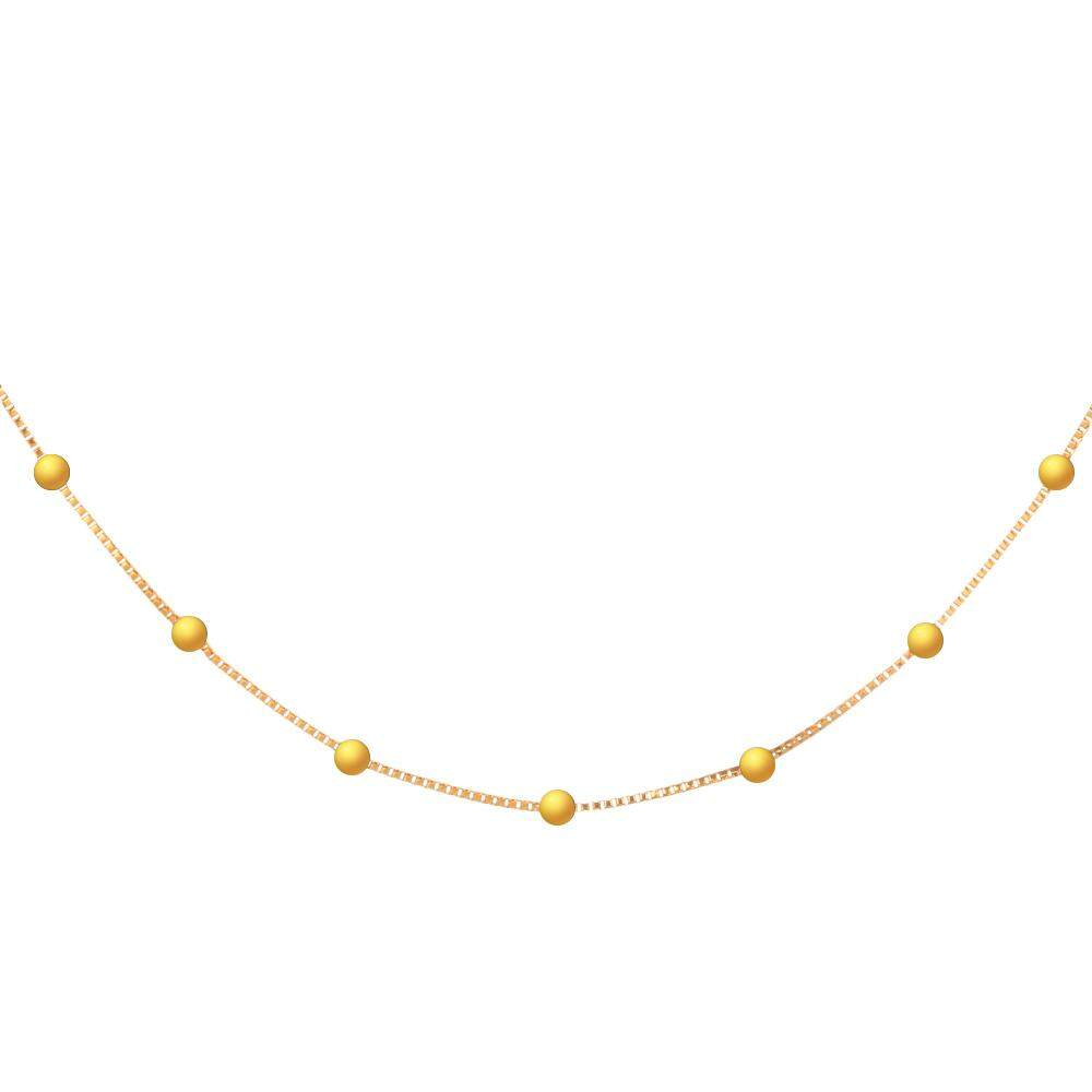 Stylish 24K Plated Gold Color Small Balls Thin Chain Necklace For Women - intl