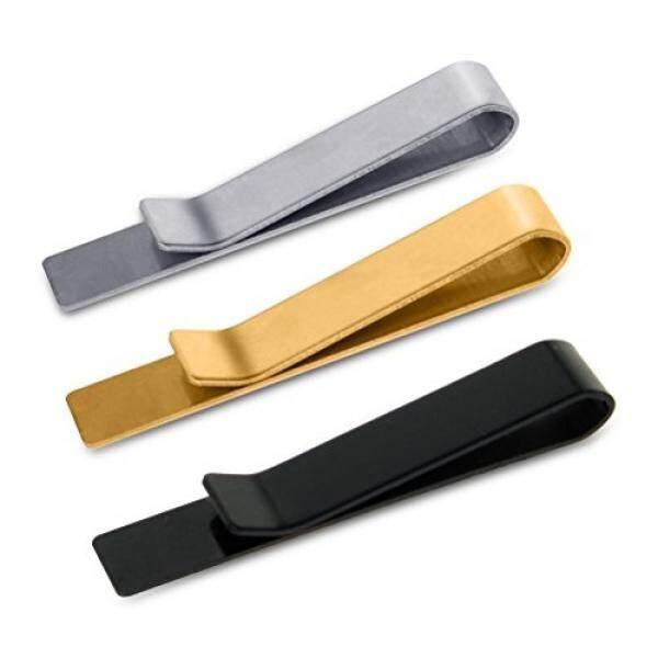 SUMAJU 3 Pc Mens Necktie Clips Tie Bar Clip Set Classic Stainless Steel Silver Tone,