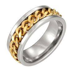 Sunyoo Faddish Men Titanium Steel Curb Chain Spin Wedding Band Ring Hot Gold 11mm