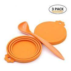 Superdesign Can Covers Scoop Packaging,bpa Free Silicone Can Cover For Multiple Sizes With Melamine Food Scoop,for Dog And Cat, Small Scoop, Orange By Buyhole