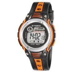 Free shipping SYNOKE Waterproof Children Boys Digital LED Sports Alarm Date Watch Orange Malaysia