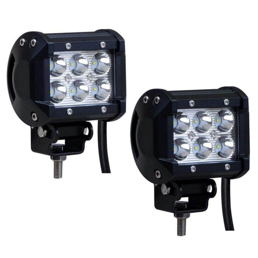 Teekeer 2Pcs 18W 1260lm IP67 Waterproof Off Road LED Spot Light Bar For SUV ATV Boat Jeep