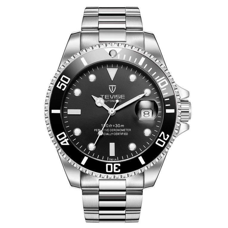Sale Tevise T801 Men Automatic Mechanical Watch Fashion Waterproof Luminous Watch Silver Band Black Dial Black Case Intl Tevise Wholesaler