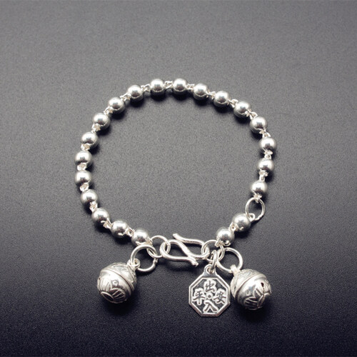 Compare Price The Pure Silver Circle Bead Bracelet Takes Bell Dang Men And Women Infant Kid Kid Baby The Jewelry S990 Foot The Silver Counteract Evil Force A Full Moon Gift Intl On China