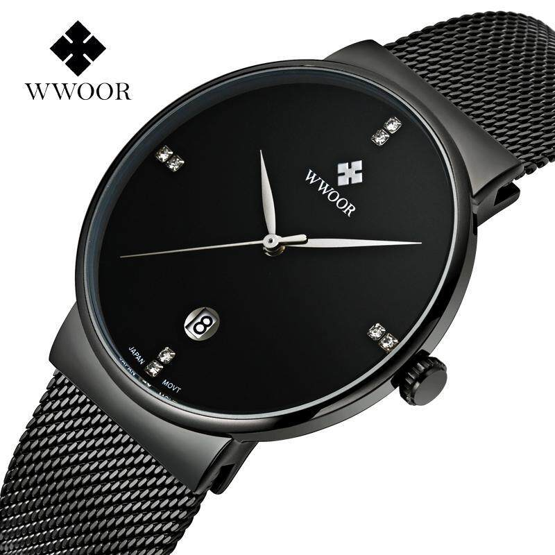 Top Brand WWOOR Luxury Mens Watch Waterproof Auto Date Shinning Crystal Casual Quartz Watches For Men Full Black Stainless Steel Mesh Watchband Fashion Wristwatches 8018 (Black) Malaysia