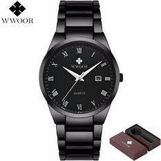 Top Selling Fashion Brand WWOOR High end Men Watch Black Strap Stainless Steel Sports Watches Men Waterproof Quartz Watch Casual Wrist Relogio Masculino Malaysia