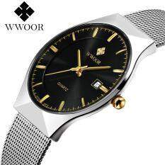 Top Luxury Brand WWOOR Watch Men Brand Mens Watches Ultra Thin Stainless Steel Mesh Band Quartz Wristwatch Fashion Casual Watches 8016 free shipping (Silver Black) Malaysia