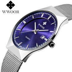 Top Luxury Brand WWOOR Watch Men Brand Mens Watches Ultra Thin Stainless Steel Mesh Band Quartz Wristwatch Fashion Casual Watches 8016 free shipping (Silver Blue) Malaysia