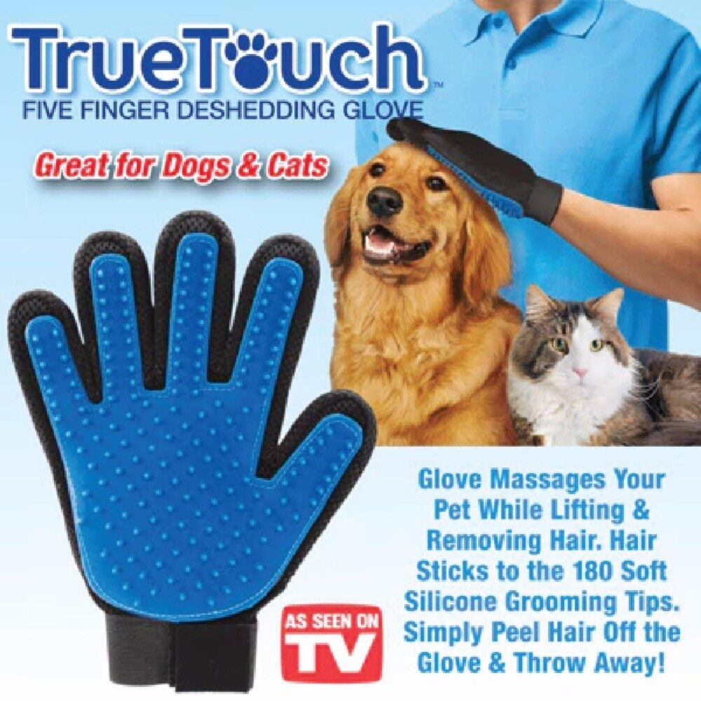 True Touch Glove Pet Dog Cat Grooming Deshedding Hair Remover Fur/penggosok Bulu Kucing ( Light ) (blue) - Intl By Baseus Digital Store.