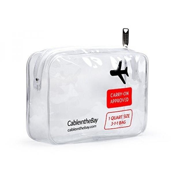 TSA Disetujui Jelas Perlengkapan Mandi Perjalanan Tas Liter Ukuran dengan Ritsleting Bandara Maskapai Sesuai Tas Barang Di Bagasi Perjalanan Ransel untuk cairan/Botol Pria/Wanita 3-1-1 Kit + 10 Perjalanan Hacks EBook-Intl