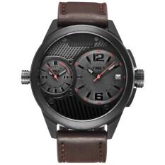 TTLIFE Fashion Brand Mens Business Mesh Alloy Watchband Calendar Window Quartz Watch(Dark Brown) Malaysia