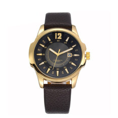 TTLIFE Luxury Brand Mens Big Dial Calendar Display Quartz Casual Leather Strap Wristwatch(gold) Malaysia