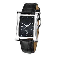 TTLIFE Luxury Brand Mens Elegant Square Shape Genuine Leather Watch Strap Calendar Display Wrist Watch(black) Malaysia