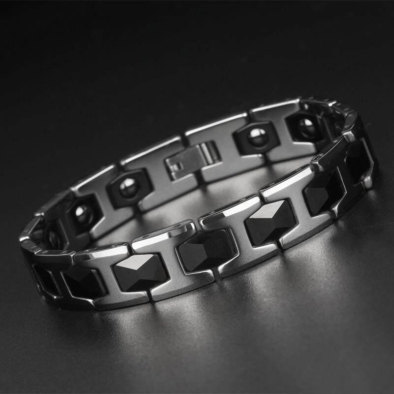 Tungsten Baja Emas Magnet Germanium Batu Kesehatan Modis Perhiasan Tungsten Emas Laki-laki Gelang-Internasional