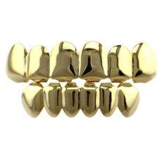 TwinkleStar  Women Men'S Personality Fashion Teeth Grillz  Rapper Hip-Hop Shiny False Teeth Color:Gold