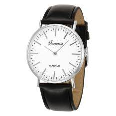 Two-pin Silver Case Geneva Belt Table Ultra-thin Two Ladies Quartz Watch-Black With Silver Shell White Flour Malaysia