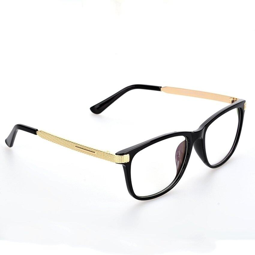 TIANYOU JD PM_Store Eyewear Student Casual Square Plain Clear Eyeglass (Gold)