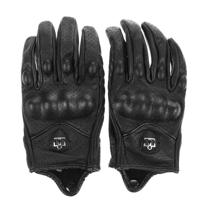 TTW Motorcycle Riding Protective Armor Black Short Leather Gloves M L XL