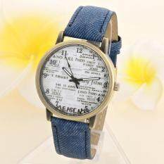 Unisex Casual Quartz Analog Sports Denim Fabric News Paper Wrist Watch Blue Malaysia