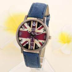 Unisex Casual Quartz Analog Sports Denim Fabric UK Flag Wrist Watch Blue Malaysia