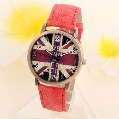 Unisex Casual Quartz Analog Sports Denim Fabric UK Flag Wrist Watch Red Malaysia
