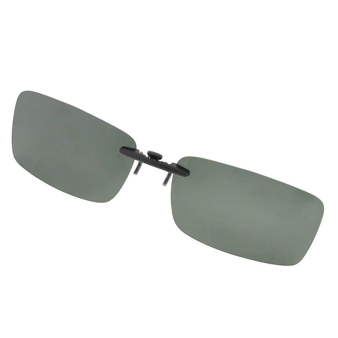 Unisex Clear Dark Green Polarized Lens Sunglasses Clip On Eyeglasses (Intl)