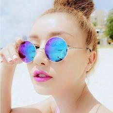 Unisex Retro Berjemur Kacamata Merk Desainer Warna-warni Lensa AC Anti Silau Kacamata Kacamata Bulat untuk Pria/Wanita