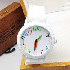 Unisex Silicone Quartz Sports Style Watch Women Jelly Wrist Watch  White Malaysia