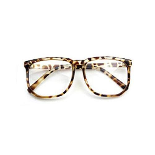 Penuh Panas Unisex Bingkai Besar Jadul Lensa Kacamata Biasa Fotografi Alat Peraga (Leopard)-Intl