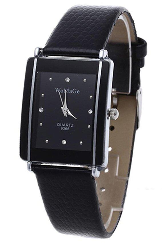 HUADE Unisex Womage Black Faux Leather Watch Malaysia