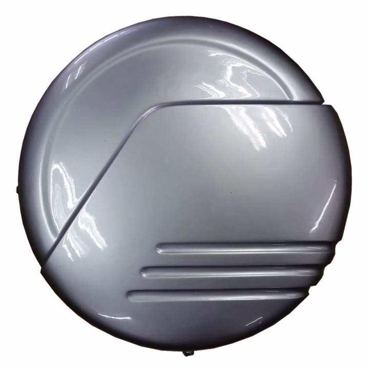 4WD SUV Universal Rear Bonnet Fiberglass Spare Tyre Tire Cover Painted Silver (70CM Diameter x ...