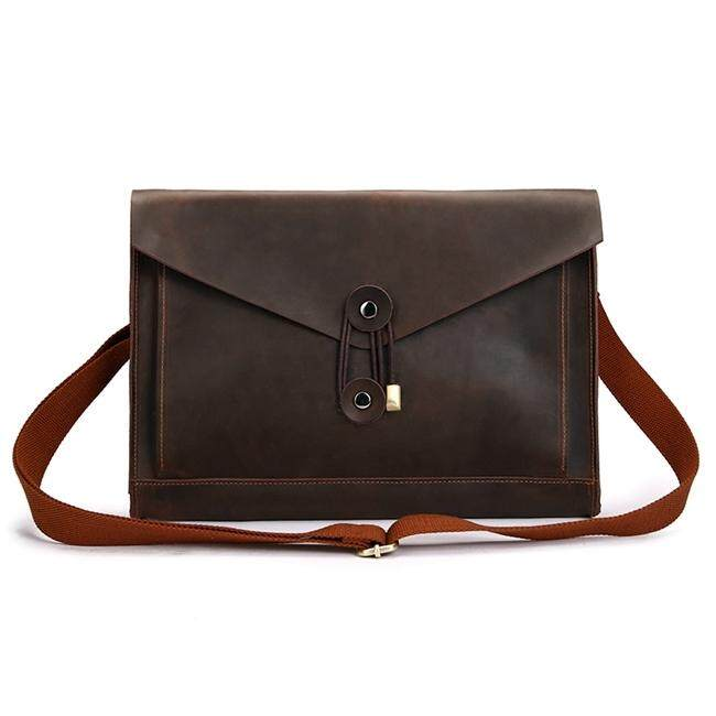 Universal Genuine Leather Business Laptop Tablet Bag, For 13.3 inch and Below Macbook, Samsung, Lenovo, Sony, DELL Alienware, CHUWI, ASUS, HP (Coffee) - intl