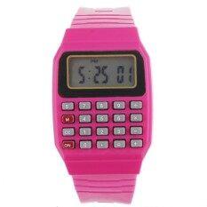 Unsex Silicone Multi-Purpose Time Electronic Wrist Calculator Watch Red Malaysia