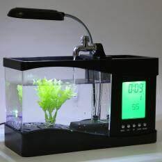 USB Desktop Mini Fish Tank Aquarium LCD Timer Clock LED Lamp Light Black