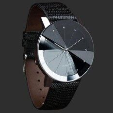 Useful Mens Luxury Business Quartz Stainless Steel Case Faux Leather Band Wrist Watch (Black) Malaysia