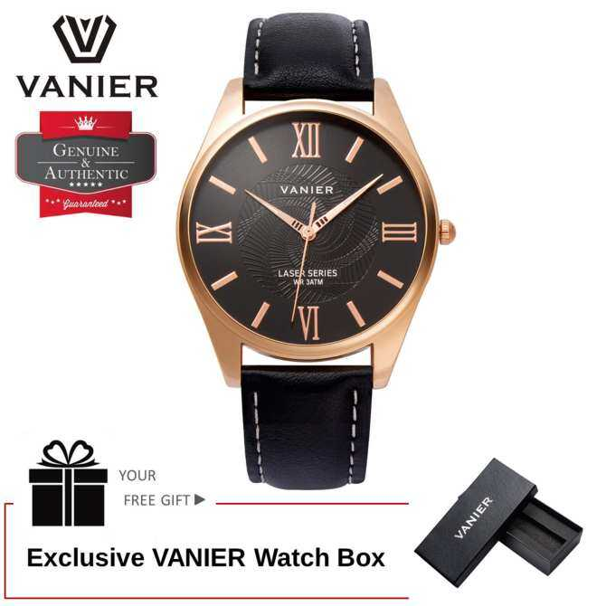 VANIER Elegant Gentlemen Fashion Laser Series Wristwatch - All Black