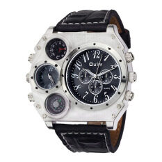 Vanker New Men Stainless Steel Dual Time Display Thermometer Compass Quartz Wrist Watch(black) - Intl Malaysia