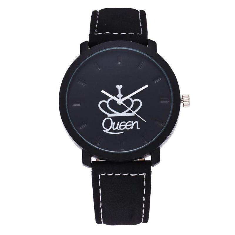 Vanker-Unique King Queen Wrist Watch Electronic Movement Faux Leather Band Couple Lovers Gifts (Queen) - intl Malaysia