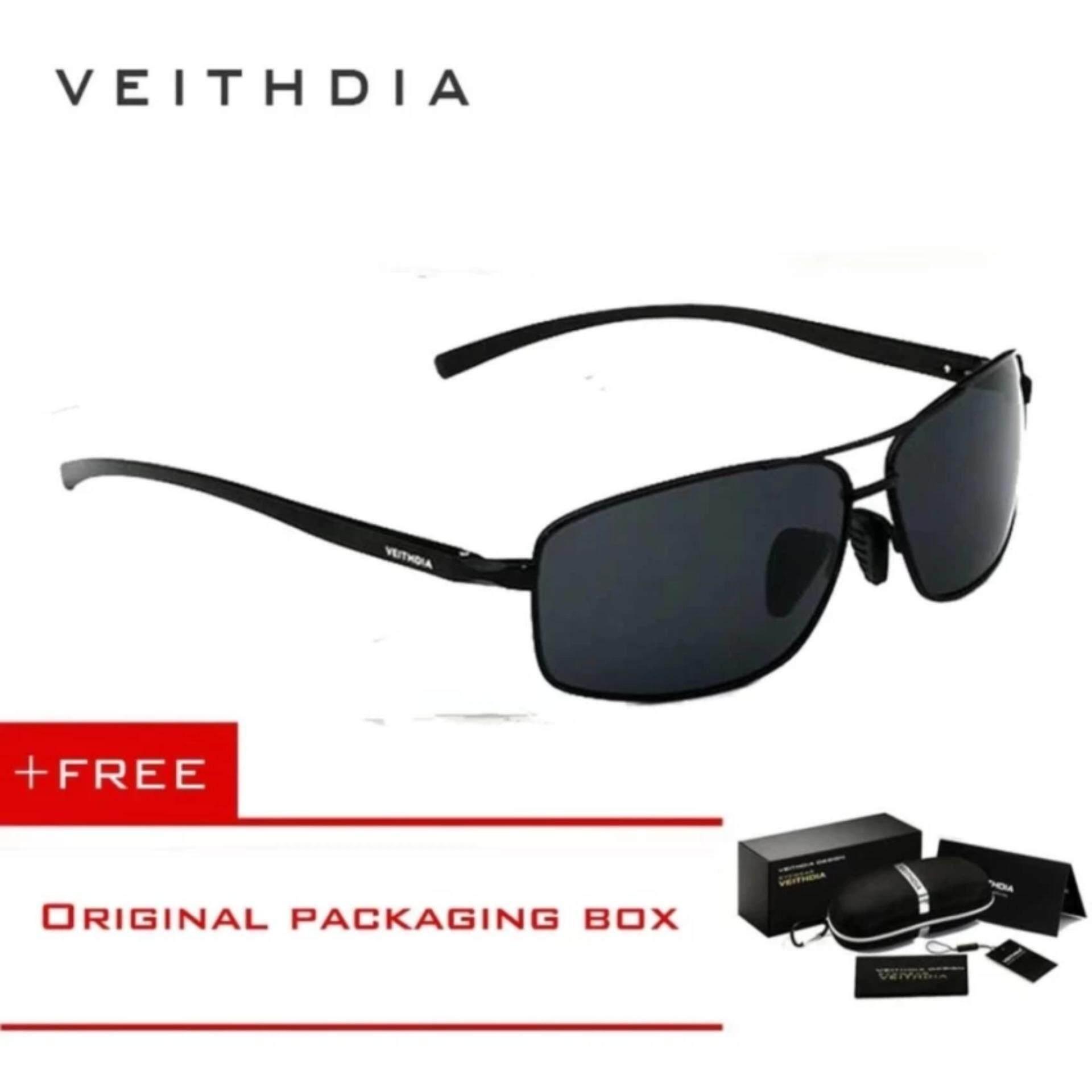 2f06e582c29 VEITHDIA Brand designer New Polarized Men s Sunglasses Aluminum Frame Sun  Glasses Driving Eyewear Accessories For Men driving 2458(Black)