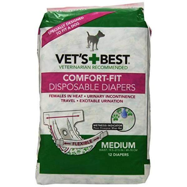 Vets Best 12 Count Comfort Fit Disposable Female Dog Diapers, Medium - intl Philippines