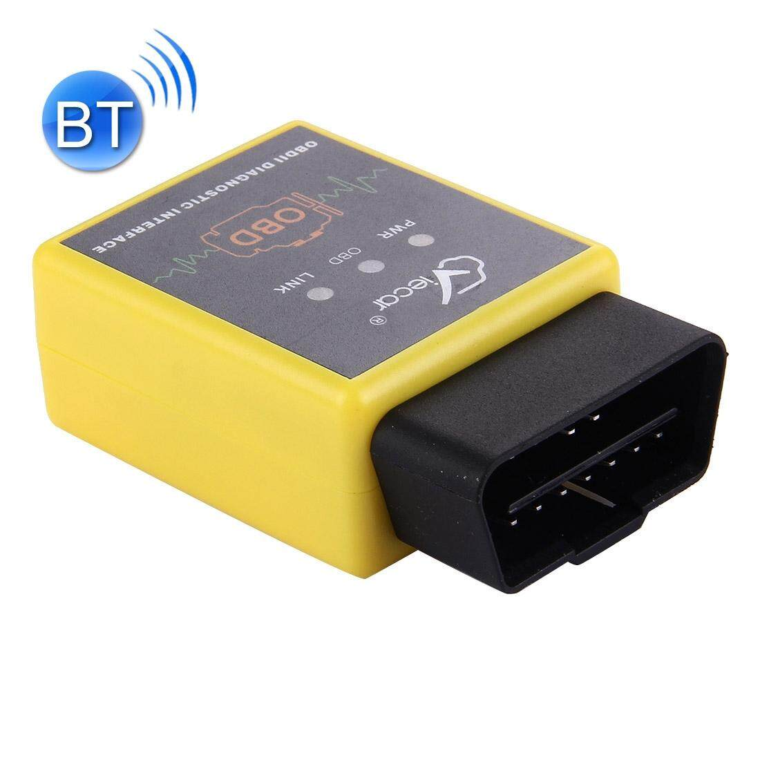 Viecar VC002-A Mini OBDII ELM327 Bluetooth Pemindai Mobil Alat Diagnostik, Mendukung Android/Symbian/Windows (Kuning)-Intl