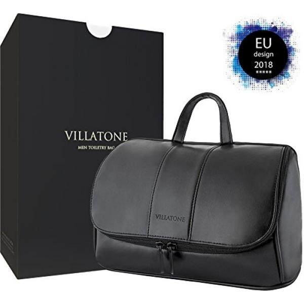 e40ff1e1b9a4 VILLATONE - Black Leather Toiletry Bag for Men. Hanging Travel Organizer