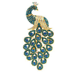 Vintage Alloy Peacock Bird Blue Rhinestone Crystal Bird Gold-Plated Brooch Pin By Teamtop.
