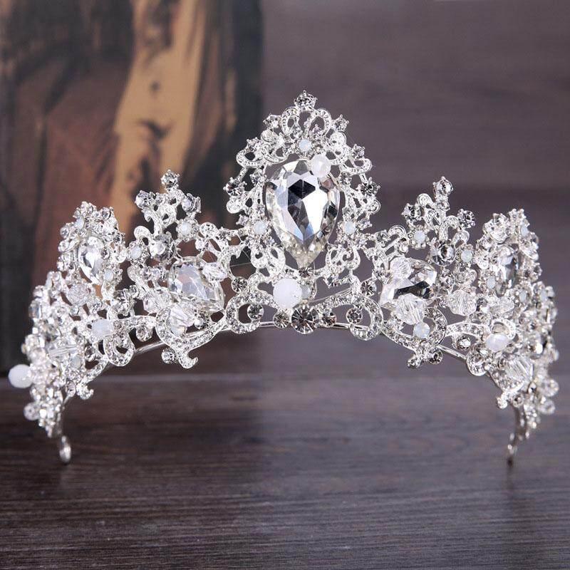 Vintage Pengantin Hiasan Rambut Perak Baroque Mahkota Tiara Kristal untuk Pernikahan Aksesori Rambut Prom Hairwear Hadiah