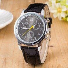 Vintage Leather Band Watch Three Eyes Quartz Wristwatches Glass Dial Clock Malaysia