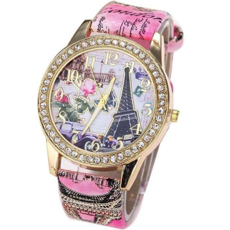 ... FF8866YY Vintage Paris Menara Eiffel Jam Tangan Kulit Kristal Jam Tangan QUARTZ Kasual Wanita